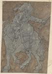 1976-3263 Tegelvoorbeeld met een voorstelling van een een ruiter naar links, staf in de linker hand, man en paard naar ...