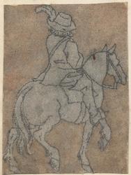 1976-3264 Tegelvoorbeeld met een voorstelling van een ruiter naar rechts op een stapvoets gaand paard.