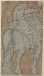 1976-3265 Tegelvoorbeeld met een voorstelling van een ruiter naar rechts, op de rug gezien, met rechterhand wijzend of ...