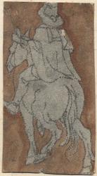 1976-3266 Tegelvoorbeeld met een voorstelling van een ruiter naar links op de rug gezien.