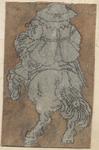 1976-3267 Tegelvoorbeeld met een voorstelling van een ruiter op een steigerend paard, van achteren gezien.