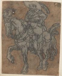 1976-3268 Tegelvoorbeeld met een voorstelling van een ruiter naar links op met pluimen versierd paard.