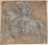 1976-3271 Tegelvoorbeeld met een voorstelling van een ruiter naar links met geweer op dravend paard.