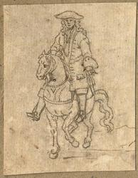 1976-3276 Tegelvoorbeeld met een voorstelling van een ruiter te paard in 18de-eeuwse kledij; frontaal naar links voor ...