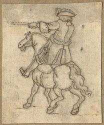 1976-3277 Tegelvoorbeeld met een voorstelling van een ruiter te paard in 18de-eeuwse kledij; paard naar links, ruiter ...
