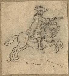 1976-3278 Tegelvoorbeeld met een voorstelling van een ruiter te paard in 18de-eeuwse kledij; paard naar rechts ...