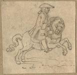 1976-3279 Tegelvoorbeeld met een voorstelling van een ruiter te paard in 18de-eeuwse kledij; paard naar rechts ...