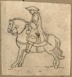 1976-3280 Tegelvoorbeeld met een voorstelling van een ruiter te paard in 18de-eeuwse kledij; paard stilstaand, naar links.