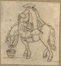 1976-3281 Tegelvoorbeeld met een voorstelling van een ruiter te paard in 18de-eeuwse kledij; paard stilstaand, naar ...