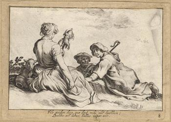 1976-3284 Tegelvoorbeeld met voorstelling van een meisje met spinwerktuigen in de handen; voor haar twee mannen op de ...