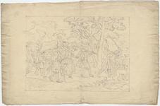 1976-3286 Tegelvoorbeeld met een voorstelling van een groep boeren en vruwen op weg in een heuvelachtig landschap; ...