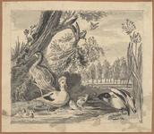 1976-3288 Tegelvoorbeeld met een voorstelling van een eend met jongen en enkele andere vogels bij en in een sloot in ...