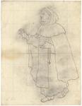 1976-3343 Tegelvoorbeeld met een voorstelling van een monnik, blote voeten in sandalen, kapmanteltje, bidsnoer aan ...