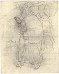 1976-3344 Tegelvoorbeeld met voorstelling van een baardige figuur die in het bos loopt te lezen, met een stok in de ...