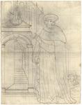 1976-3345 Tegelvoorbeeld met voorstelling van een monnik behorend tot de orde van St. Basil in een lang gewaad, baret ...