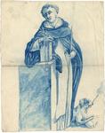1976-3346 Tegelvoorbeeld met voorstelling van de heilige Dominicus, geleund op een boek met in de hand een lelie, ...