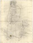 1976-3347 Tegelvoorbeeld met voorstelling van een monnik met grote tonsuur, in een pij, met de handen over elkaar in de ...