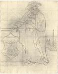 1976-3348 Tegelvoorbeeld met voorstelling van een baardige figuur met een hoed met brede rand en een van voren ...