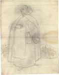 1976-3349 Tegelvoorbeeld met een voorstelling van monnik met een capuchon op het hoofdAan zijn gordel draagt hij een ...