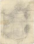 1976-3350 Tegelvoorbeeld met een voorstelling van een monnik met een breedgerande hoedafgebeeld in een interieur
