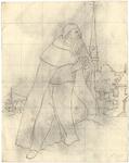 1976-3351 Tegelvoorbeeld met een voorstelling van een baardige monnik.