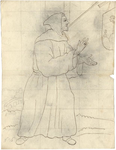 1976-3352 Tegelvoorbeeld met een voorstelling van een monnik met kapmantel en puntmuts. Rechts tegen de muur een schild ...