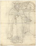 1976-3353 Tegelvoorbeeld met een voorstelling van Dominicaan, gekleed in een mantel. Platte hoed met een brede rand. ...