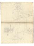 1976-3354 Tegelvoorbeeld met een voorstelling van een figuur in een mantel, met hoed met opstaande randen. Op de ...