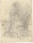 1976-3355 Tegelvoorbeeld met een voorstelling van een baardige figuur, blootshoofds. Rechtsachter een kerk waarop twee ...