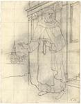 1976-3356 Tegelvoorbeeld met een voorstelling van een baardige figuur, blootshoofs, met mantel staand voor een ...