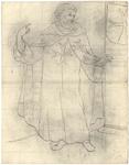 1976-3357 Tegelvoorbeeld met een voorstelling van een baardige monnik met een grote tonsuur. Ankerkruisen op de borst, ...