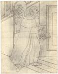 1976-3358 Tegelvoorbeeld met een voorstelling van een baardige monnik met grote tonsuur, die bij een geopende deur ...