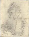 1976-3359 Tegelvoorbeeld met een voorstelling van een baardige figuur op sandalen, die een mantel met capuchon draagt. ...