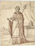 1976-3360 Tegelvoorbeeld met een voorstelling van de paus, in de hand een staf met pauskruis. Rechts op de altaar twee ...