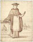 1976-3362 Tegelvoorbeeld met een voorstelling van een figuur in priesterkleding met platte hoed en brede rand. Links ...