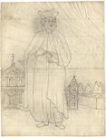 1976-3363 Tegelvoorbeeld met een voorstelling van een figuur in mantel met opstaande kraag en met hoed met opstaande ...