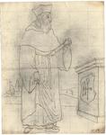 1976-3365 Tegelvoorbeeld met een voorstelling van een figuur in lang gewaad en kapmanteltje. Vierkante [?] hoed. In de ...