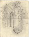1976-3366 Tegelvoorbeeld met een voorstelling van een monnik met een capuchon op het hoofd; een bidsnoer in de gevouwen ...