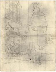 1976-3367 Tegelvoorbeeld met een voorstelling van een figuur in priesterkleding met hoed met opstaande randen. Links ...