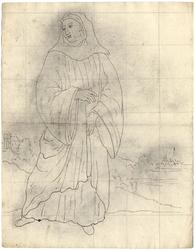 1976-3368 Tegelvoorbeeld met een voorstelling van een figuur in pij met een kap op het hoofd, afgebeeld in een ...