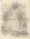 1976-3369 Tegelvoorbeeld met een voorstelling van een figuur in priesterkleding; met grote tonsuur; boek in de ...