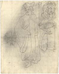 1976-3370 Tegelvoorbeeld met een voorstelling van een figuur in wjde mantel, hoed met opstaande randen. Linksachter een ...