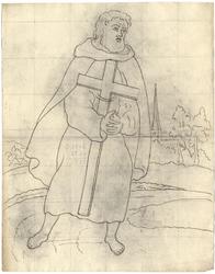 1976-3371 Tegelvoorbeeld met een voorstelling van een baardige figuur, barrevoets, in schoudermantel, met en kruis in ...