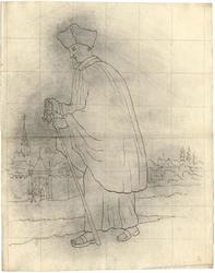 1976-3372 Tegelvoorbeeld met een voorstelling van een wandelende figuur, gekleed in een lang gewaad, waarover een ...