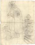1976-3373 Tegelvoorbeeld met een voorstelling van een figuur in een lang gewaad waarover een mantel; een hoed met ...