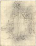 1976-3374 Tegelvoorbeeld met een voorstelling van een staande figuur in een lange mantel; een hoed met openstaande ...