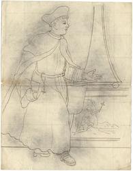 1976-3375 Tegelvoorbeeld met een voorstelling van een lopende figuur met een lang gewaad waarover een lange mantel; een ...
