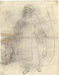 1976-3376 Tegelvoorbeeld met een voorstelling van een baardige man in een vrij lang gewaad waarover een mantel. Baret ...