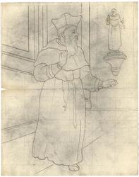 1976-3378 Tegelvoorbeeld met een voorstelling van een man in een lang priestergewaad; met korte kapmantel en een hoed ...