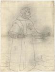 1976-3379 Tegelvoorbeeld met een voorstelling van een monnik in een lang gewaad, een Grieks kruis op de borst. ...